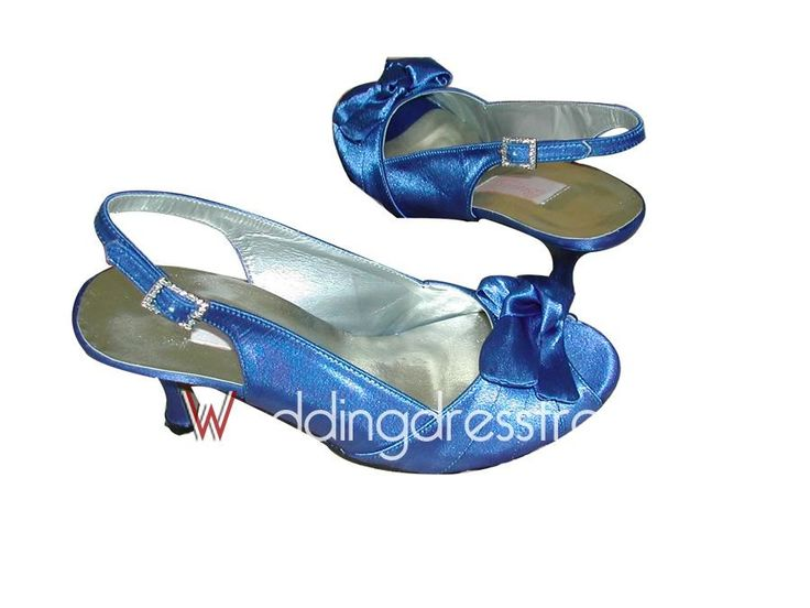 [$69.99] Satin with Bowknot Slingback Wedding Shoes