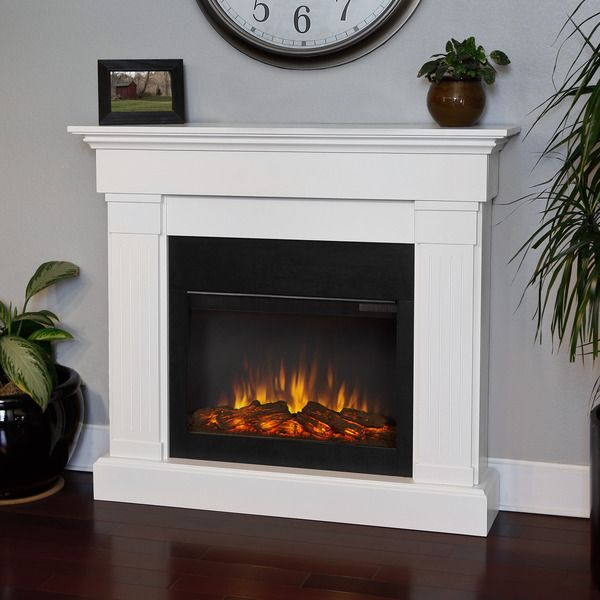 Real Frame Crawford Slim Line White Electric 474 Inch Fireplace
