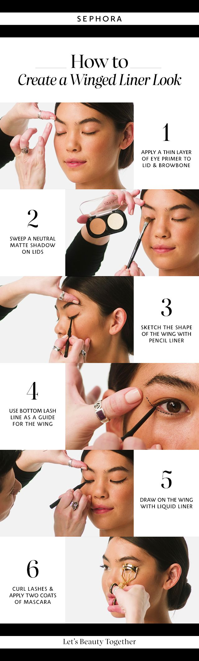 Learn how to create a winged liner look. Want more details? Click the image to watch a full tutorial on our YouTube channel. #Sephora