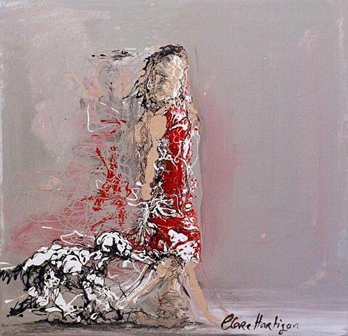 "Clare Hartigan, ""Walking with my Friend"" #art #dog #walking #dogwalker #puppy #paint #paintdrips #splatter #pollock #redress #painting #DukeStreetGallery"