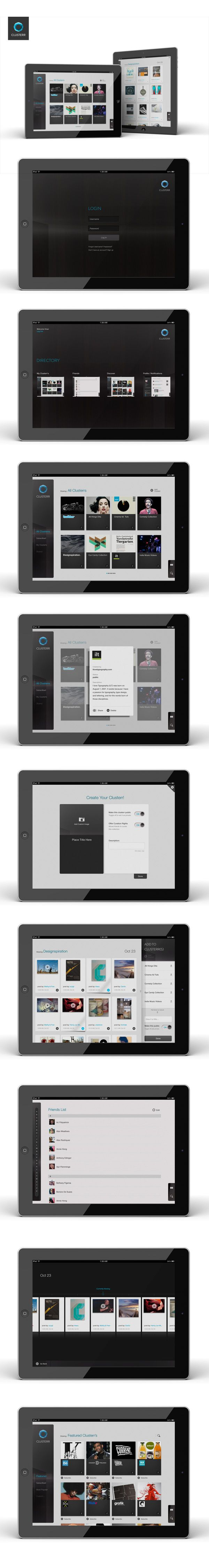Stay up to date with daily web design news:  http://www.fb.com/mizkowebdesign    Clusterr iPad App / An iPad App for a visualizer for your twitter timeline and acts as a content curation tool    #webdesign #design #designer #inspiration #user #interface #ui #web