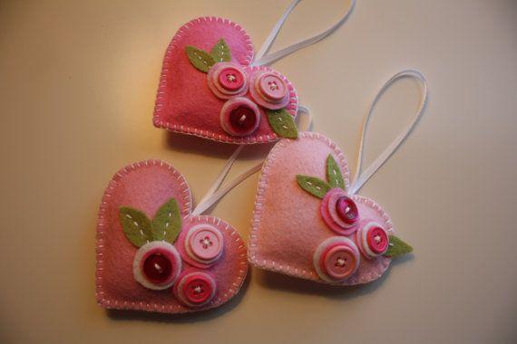 Heart Felt Ornament set - With Buttons