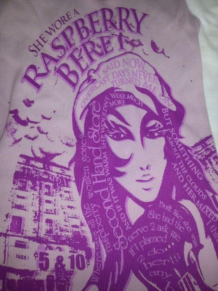 Lyric Culture Womens Size Small Tank Top Prince Raspberry Beret Lyrics -Retired