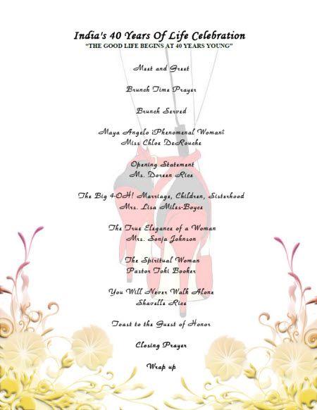 40th birthday celebration program