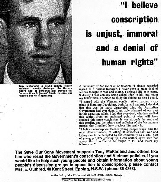 A pamphlet against conscription that includes a conscientious objector's justification for why his actions