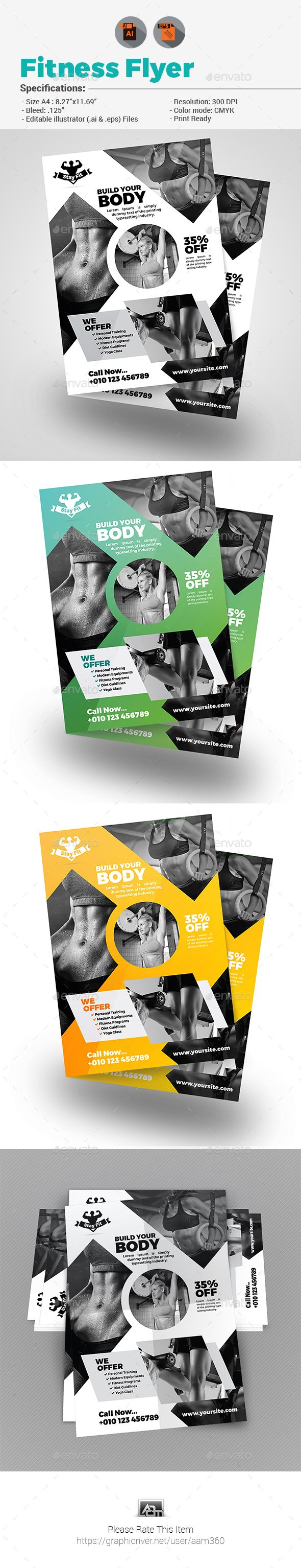 #Fitness #Flyer - #Corporate Flyers Download here: https://graphicriver.net/item/fitness-flyer/19469564?ref=alena994