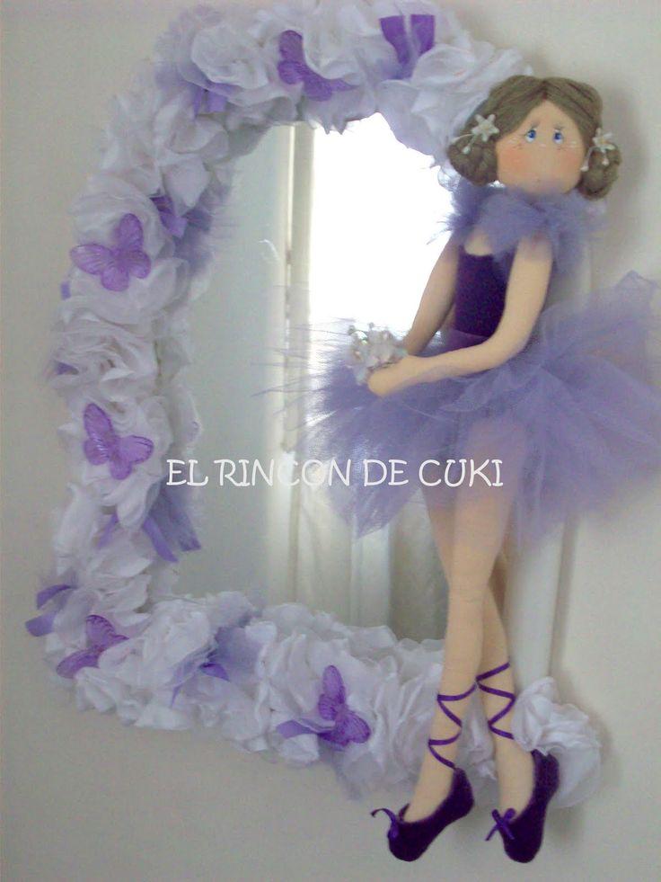 """El Rincón de Cuki - Artesanías Country: ESPEJO CUARTO NIÑAS....(such a sweet wreath! i would love one for my door...""""inside"""" the house.)...."""