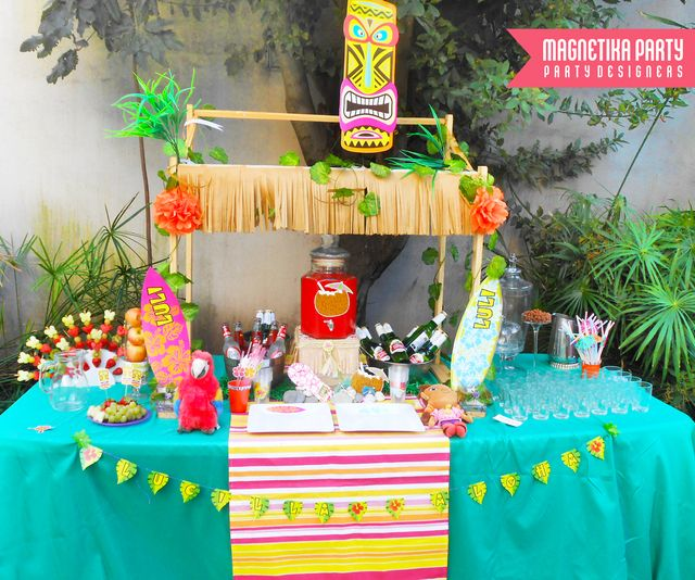 All the supplies you need to dress up your home bar for a Scales Luau Party.