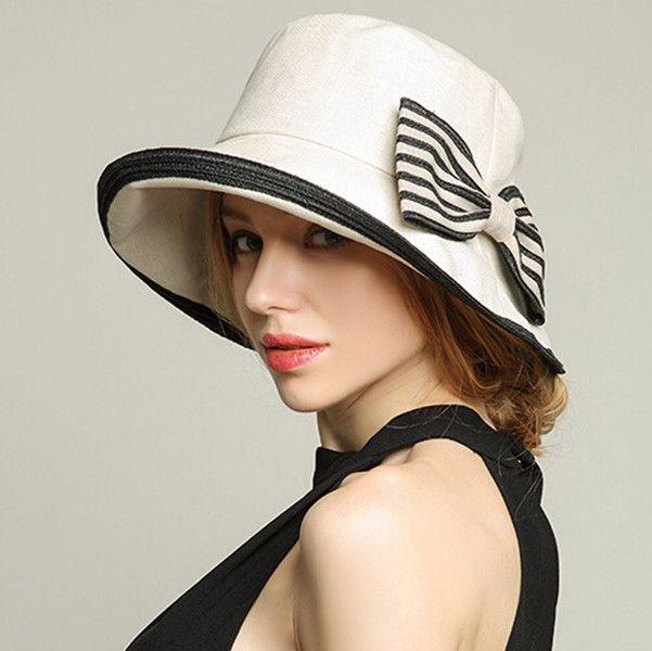 Striped bow sun hats for women UV bucket hat summer wear