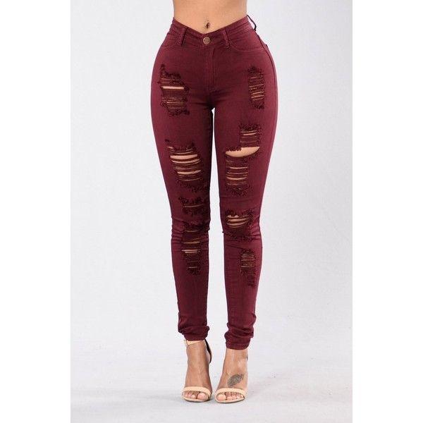 Havin It Skinny Jean Burgundy ($75) ❤ liked on Polyvore featuring jeans, distressed skinny jeans, distressed jeans, high waisted jeans, high-waisted jeans and straight leg jeans