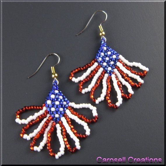 US American Flag Seed Bead Fringe Dangle Earrings by carosell