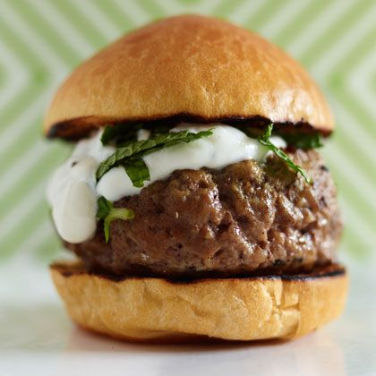 A burger inspired by the MEDITERRANEAN DIET: Grilled Lamb Sliders with Mint Yogurt #Recipe   health.com