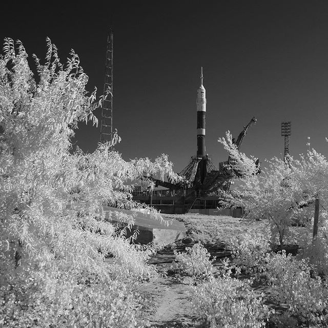 nasa NASA astronaut Randy Bresnik (@astrokomrade), Russian cosmonaut Sergey Ryazanskiy and European Space Agency astronaut Paolo Nespoli are slated to launch to the International Space Station (@ISS) at 11:41 a.m. EDT on Friday aboard a Russian Soyuz spacecraft, shown here in a black and white infrared view after it was raised into a vertical position on the launch pad at the Baikonur Cosmodrome, Kazakhstan. The crew will spend more than four months aboard the orbiting laboratory before…