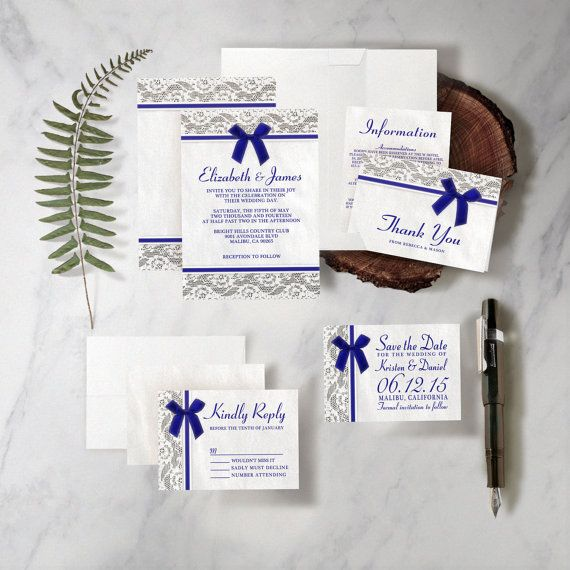 Royal Blue Country Lace Wedding Invitation by InvitationSnob