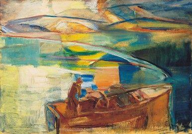 Egry József Esti fények a Balatonon című festménye