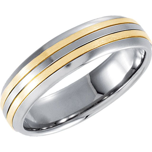 5.5mm Stainless Steel Domed Band with 18kt Yellow Inlay...(STSTST864:060:P).! Price: $89.99