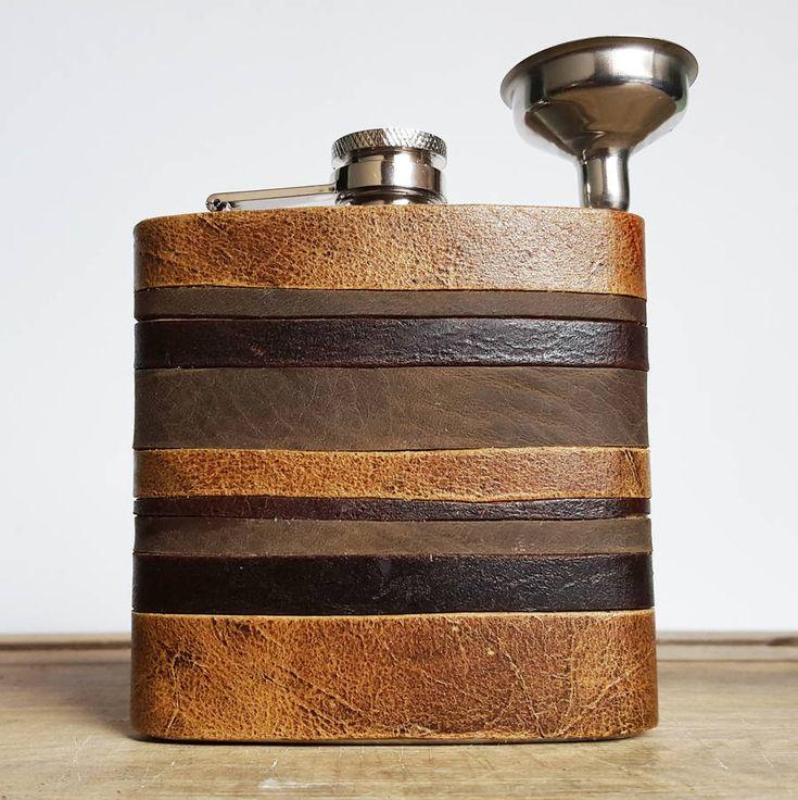 HÔRD Leather Strips Hip Flask Custom Initials
