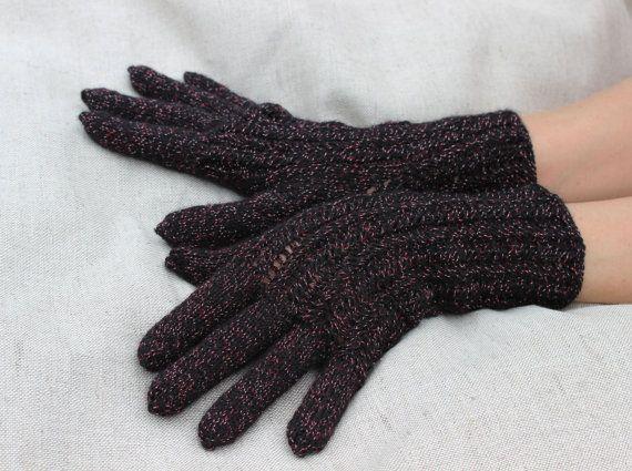 Hand Knitted Gloves dark blue Elegant Arm Warmers by DriadaD