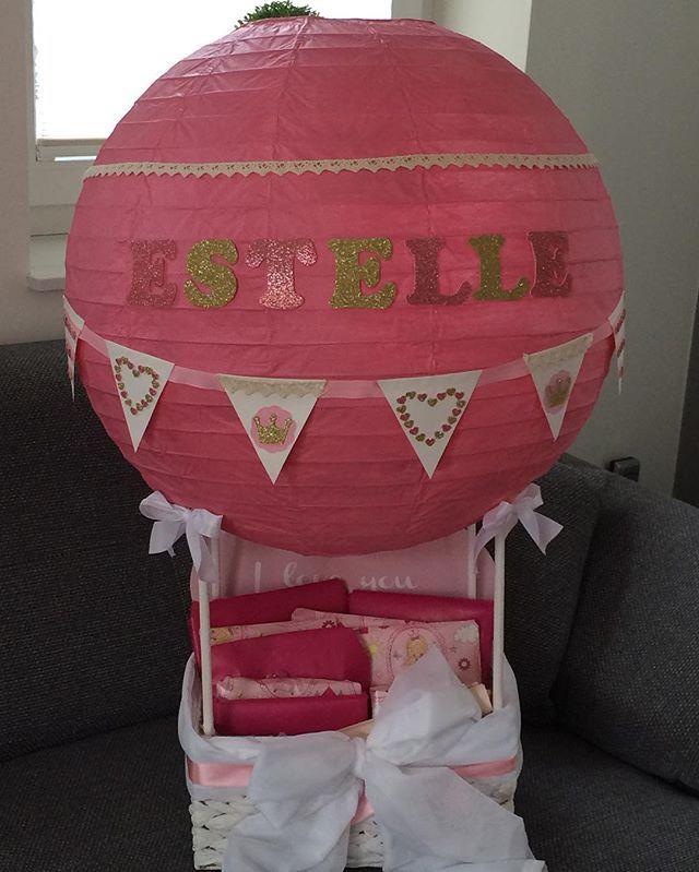 Geschenkideen zur Taufe Babyshower Geburtstag und vieles mehr   Ballon Girl Mädchentraum Glitzer rosa   Zur Taufe meiner Nichte #taufe #ballons #heisluftballon #rosa #vintage #geschenk #geschenkideen #geschenkidee #basteln #selfmade #selbermachen #wimpelkette #glitzer #schleife #korb #estelle #newborn #baby