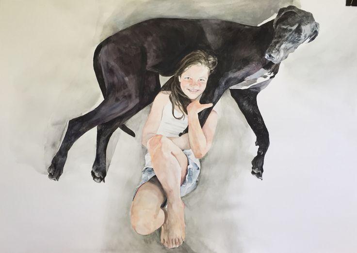 Bella and Daisy water colour on paper 106 x 72cm Karin Dando