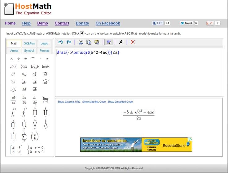 Online LaTeX formula editor and browser-based math equation editor. http://www.hostmath.com/