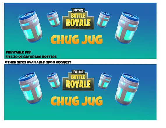 image relating to Free Fortnite Printable Labels known as Fortnite Chug Jug Printable Bottle Labels Merchandise inside of 2019