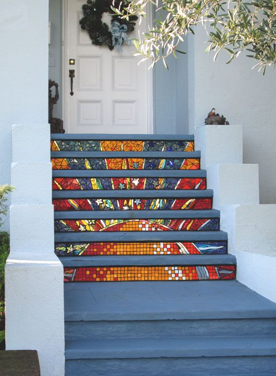 This one is nice too.  Kim Larson Art, Mosaics + More: Mosaic Stairs - Dawn's Sunrise