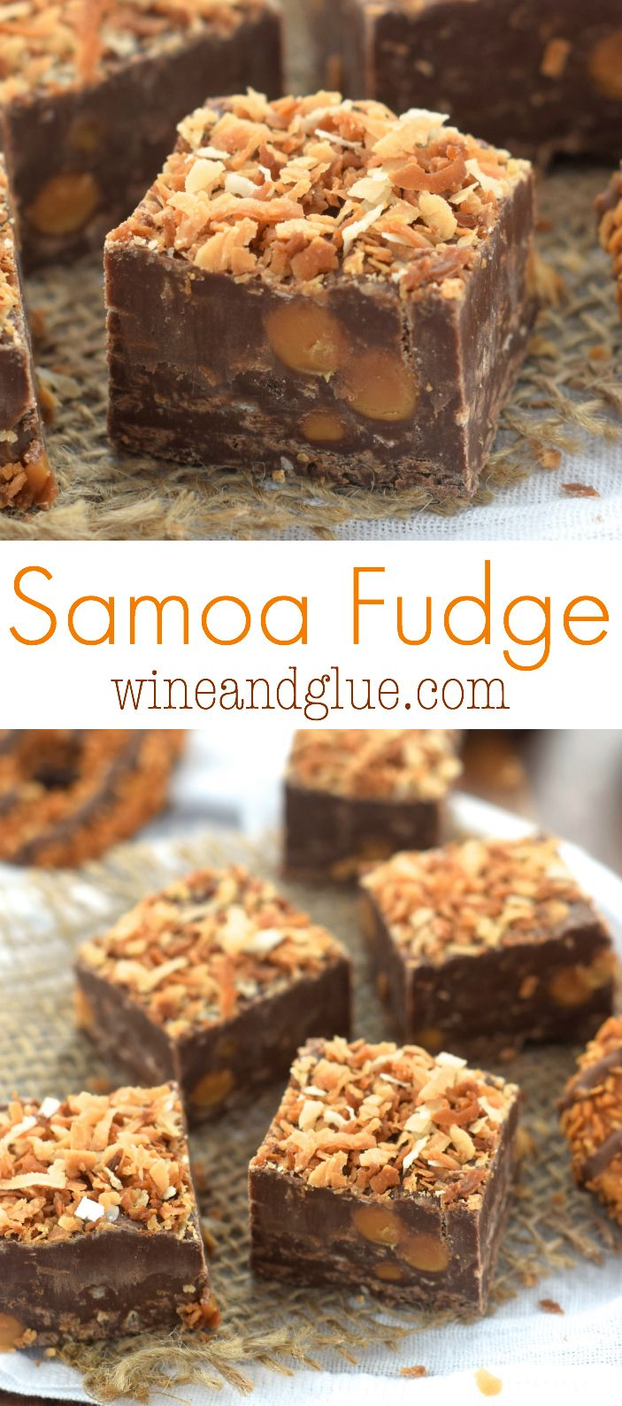 Samoa Fudge!! Only five ingredients, amazingly easy, and delicious!!                                                                                                                                                                                 More