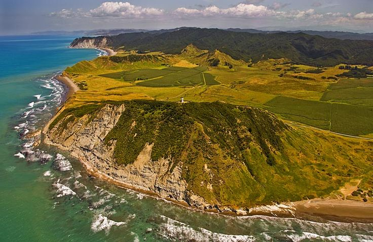 East Cape, looking south, spot the lighthouse on top of the cliff, see more at New Zealand Journeys app for iPad www.gopix.co.nz