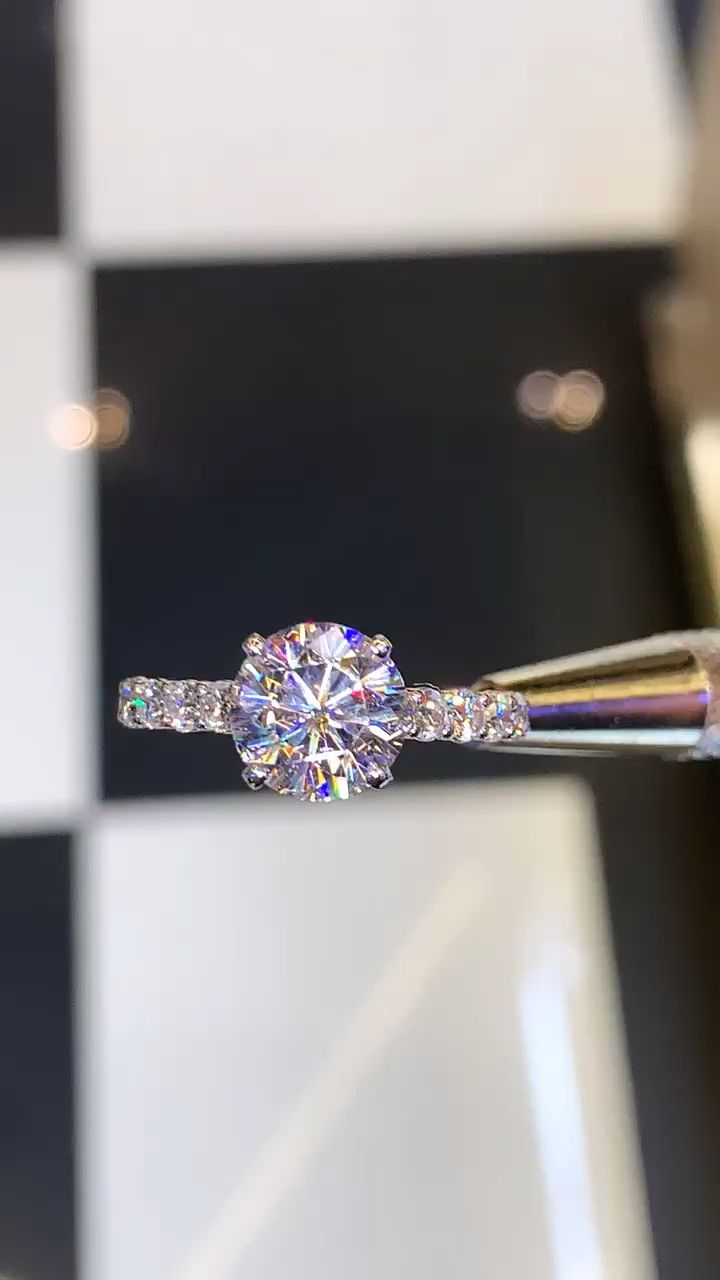 2.50ct Round Moissanite with 1.00ct.tw Diamond Cathedral Engagement Ring