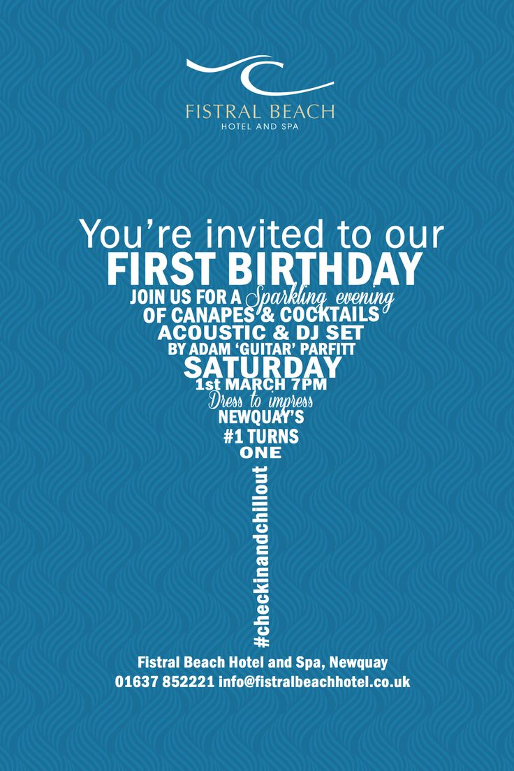 You're invited to our FIRST BIRTHDAY.   Join us for a sparkling evening of canapes and cocktails. Acoustic and DJ Set by Adam 'Guitar' Parfitt.  Saturday 1st March 7pm  Dress to impress   Newquay's #1 turns one  #checkinandchillout