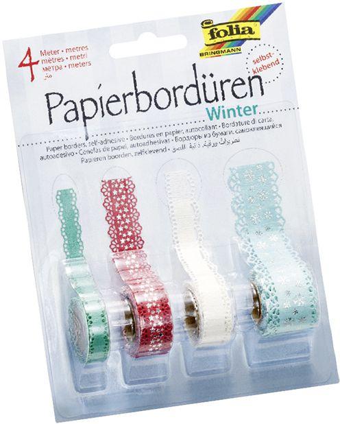 Selbstklebende Bordüren aus Papier zum Verzieren von Karten, Wohnaccessoires und vielem mehr. Mehr unter www.folia.de