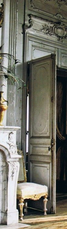 Parisian door and mantel. Very old world, European charming details and woodwork.