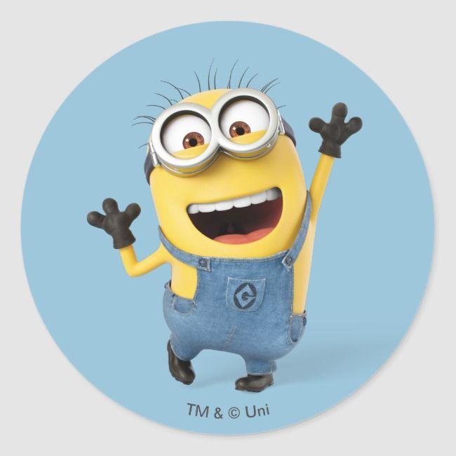Despicable Me Minion Tom Excited Classic Round Sticker Zazzle Com In 2020 Minions Despicable Me My Minion