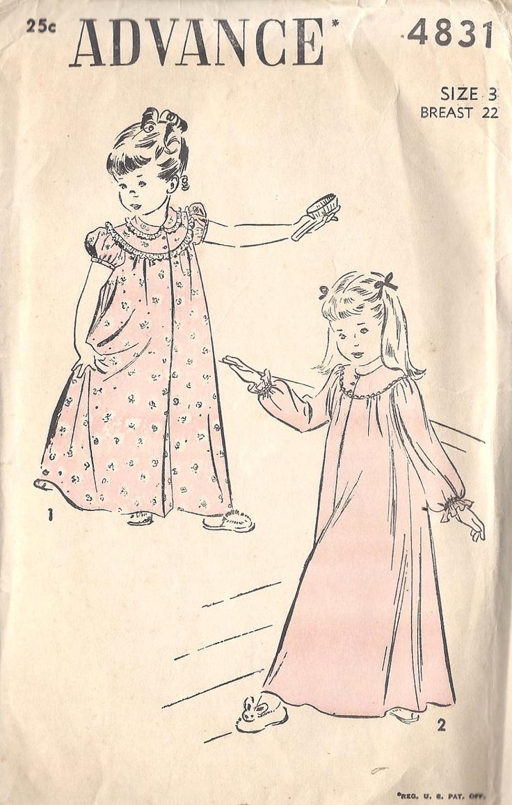 14 best 40 50 60s kids sleepwear images on pinterest vintage 1950s girls nightgown vintage uprinted sewing pattern advance 4831 size 3 800 via etsy jeuxipadfo Gallery
