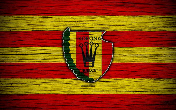 Download wallpapers Korona Kielce, 4k, Ekstraklasa, wooden texture, football, Poland, Korona Kielce FC, soccer, football club, FC Korona Kielce