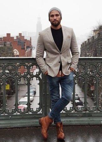 Men's Grey Blazer, Black Crew-neck Sweater, Brown Polka Dot Long Sleeve Shirt, Navy Skinny Jeans