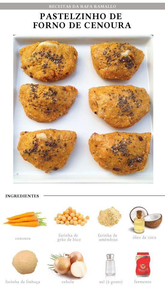Pastel integral de cenoura (cenoura, grão de bico, farinha de coco, farinha de linhaça, sal, farinha de amêndoas)