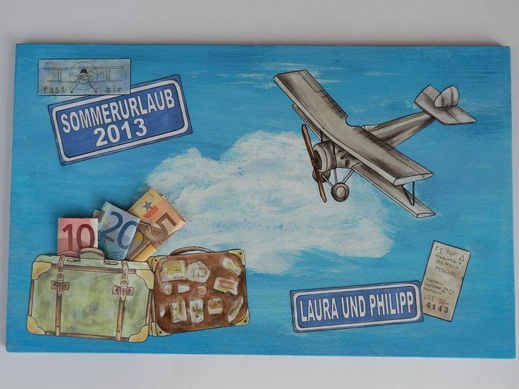 Geldgeschenk, Glückwunsch zum Flugschein,für Reise