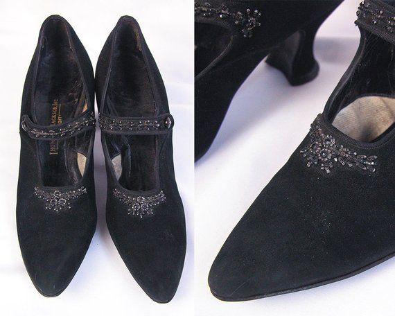 Edwardian <b>Shoes</b> ~ 1910s Black Suede <b>Beaded</b> Evening <b>Pumps</b> w ...