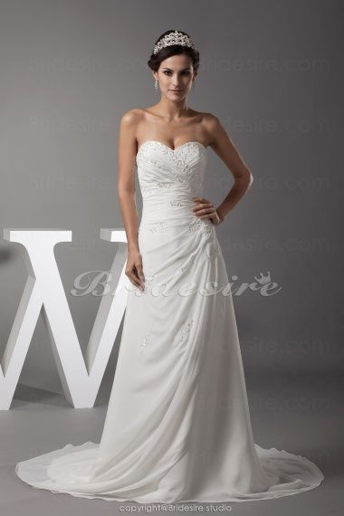 Bridesire - A-line Sweetheart Court Train Sleeveless Chiffon Wedding Dress [BDH1150] - US$172.99 : Bridesire
