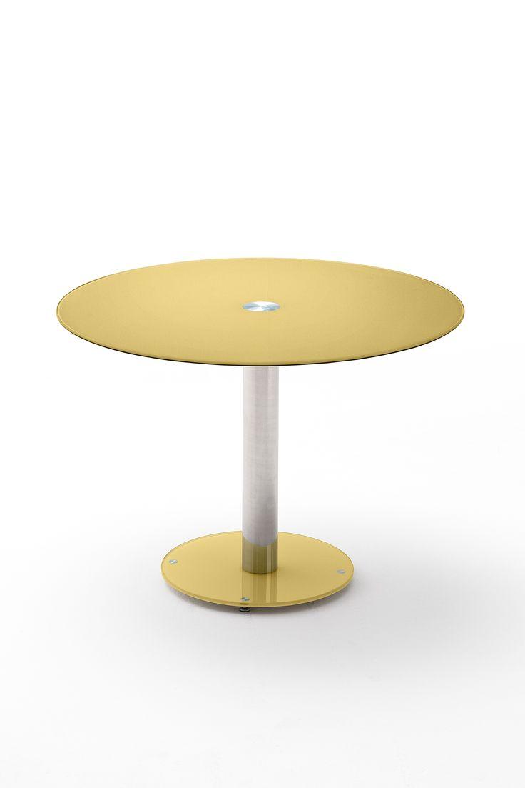 Glastisch rund 100 cm curry lackiert woody 41 02356 gelb chrom modern jetzt bestellen unter