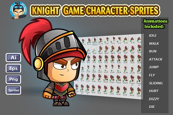 Knight 2D Game Character Sprites by DionArtworks on @creativemarket