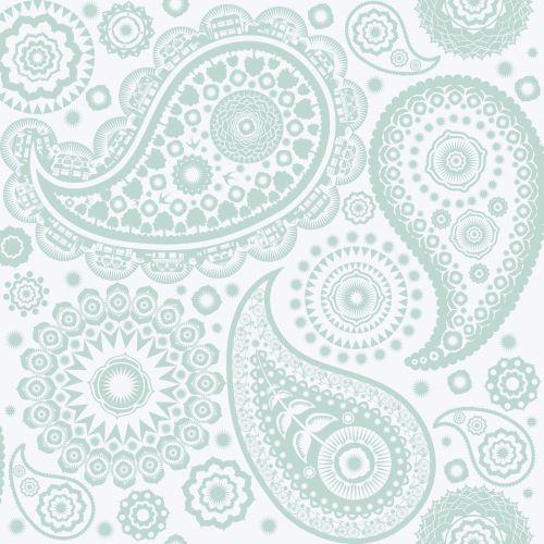 Mini Moderns Paisley Crescent  Pale Verdigris Wallpaper main image