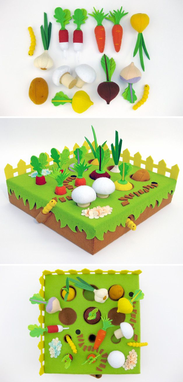 Kinder Spielzeug für kleine Nachwuchs-Gärtner: kleiner Garten aus Filz, in dem Gemüse angebaut werden kann, eine tolle Spielidee / kids' toy: felt garden where children can plant vegetables and play gardener - made by MyFruit via DaWanda.com