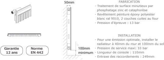 Radiateur acier de hauteur 300mm