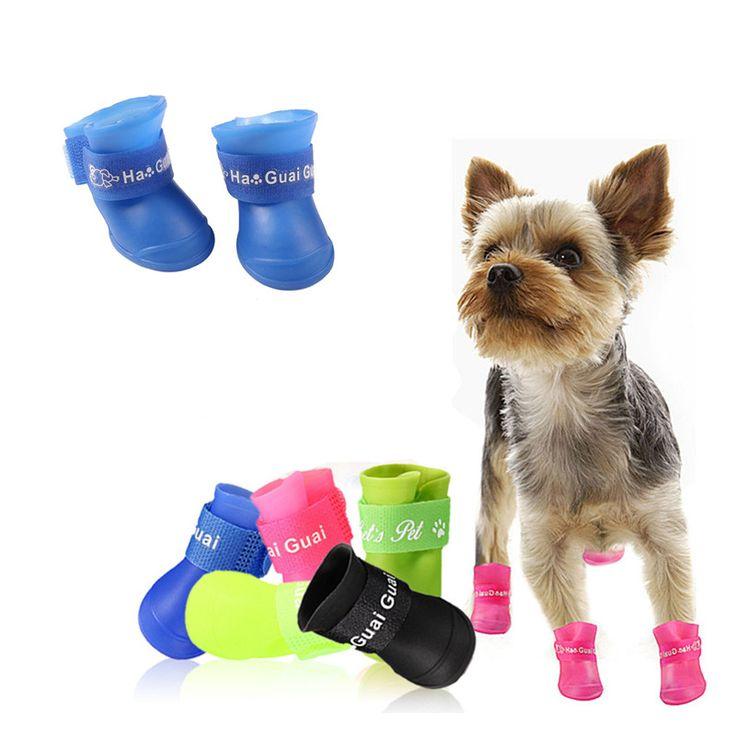 4 Unids/lote Perro gato perro mascota calcetines Colores Del Caramelo Botas A Prueba de agua Para Mascotas de Colores Zapatos Para La Lluvia Disponible para perros Yorkie