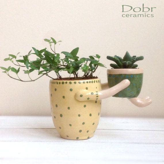 Madre y niño, plantador de cerámica, plantador de cerámica, pote, hecho a la medida