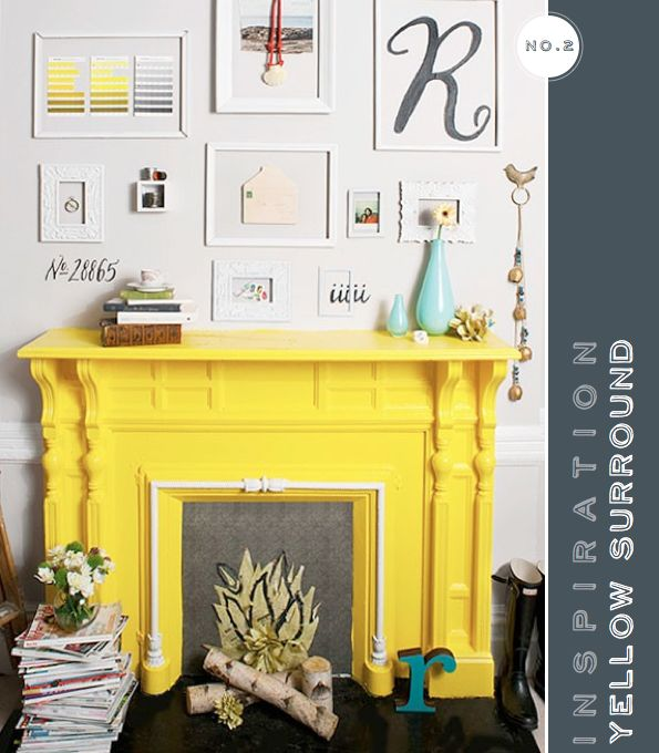 love the color of the fireplace, the faux fire, the stacked magazines and the wall art.