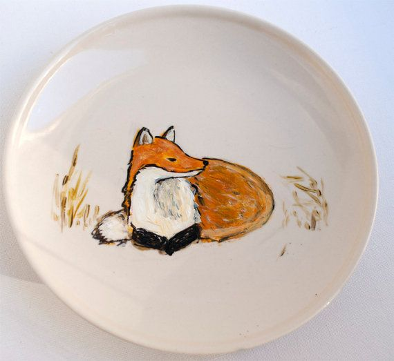 Fox Home Decor Hand Painted Plate Fox In The Field